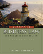Study Guide for Twomey/Jennings' Anderson's Business Law Comprehensive and Standard versions, 21st Edition, ISBN-13: 978-0-324-82978-5