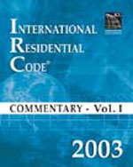 2003 International Residential Code Commentary Volume 1, 1st Edition, 978-1-58001-133-4